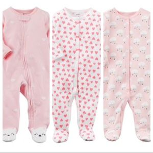 Bundle of 3 Pink Newborn Baby Girl Footed Sleepers